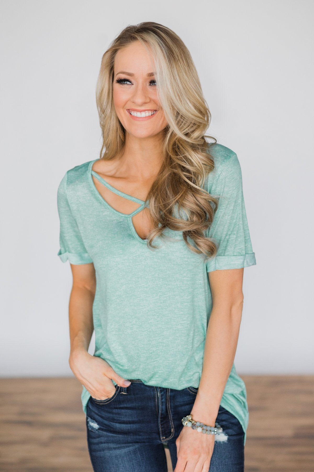 Enough for You Criss Cross Top ~ Mint