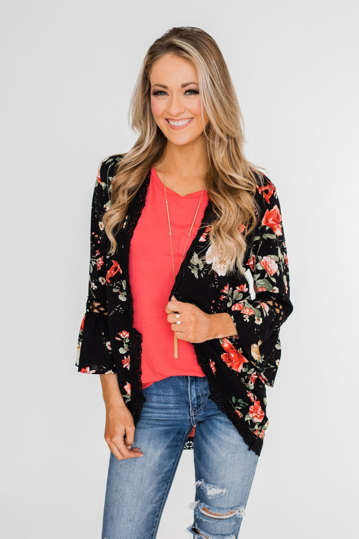 Floral Bell Sleeve & Lace Trim Kimono- Black