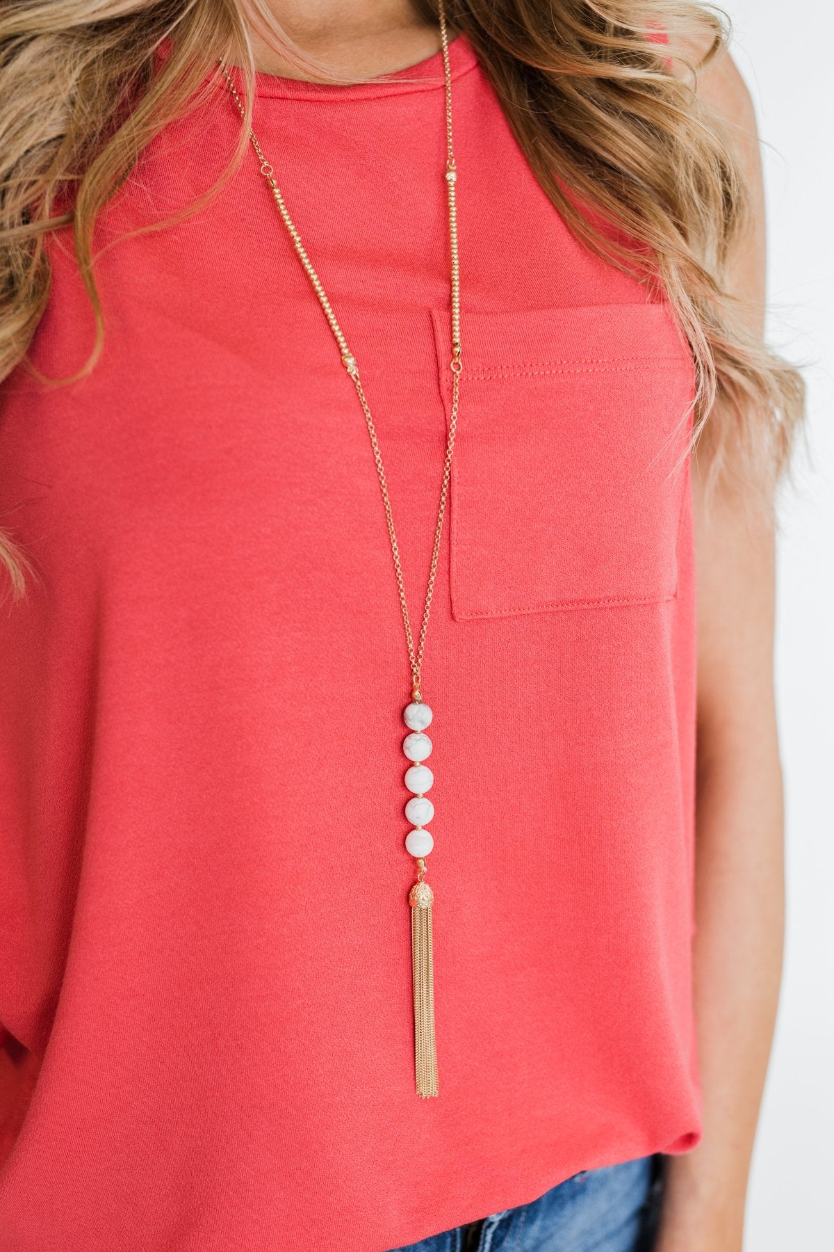 Adjustable Beaded Tassel Necklace- White Marble