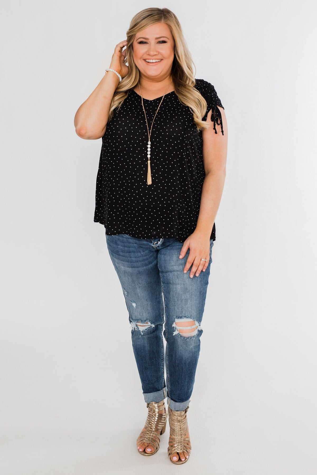 Polka Dot Cinched Tie Sleeve Top- Black