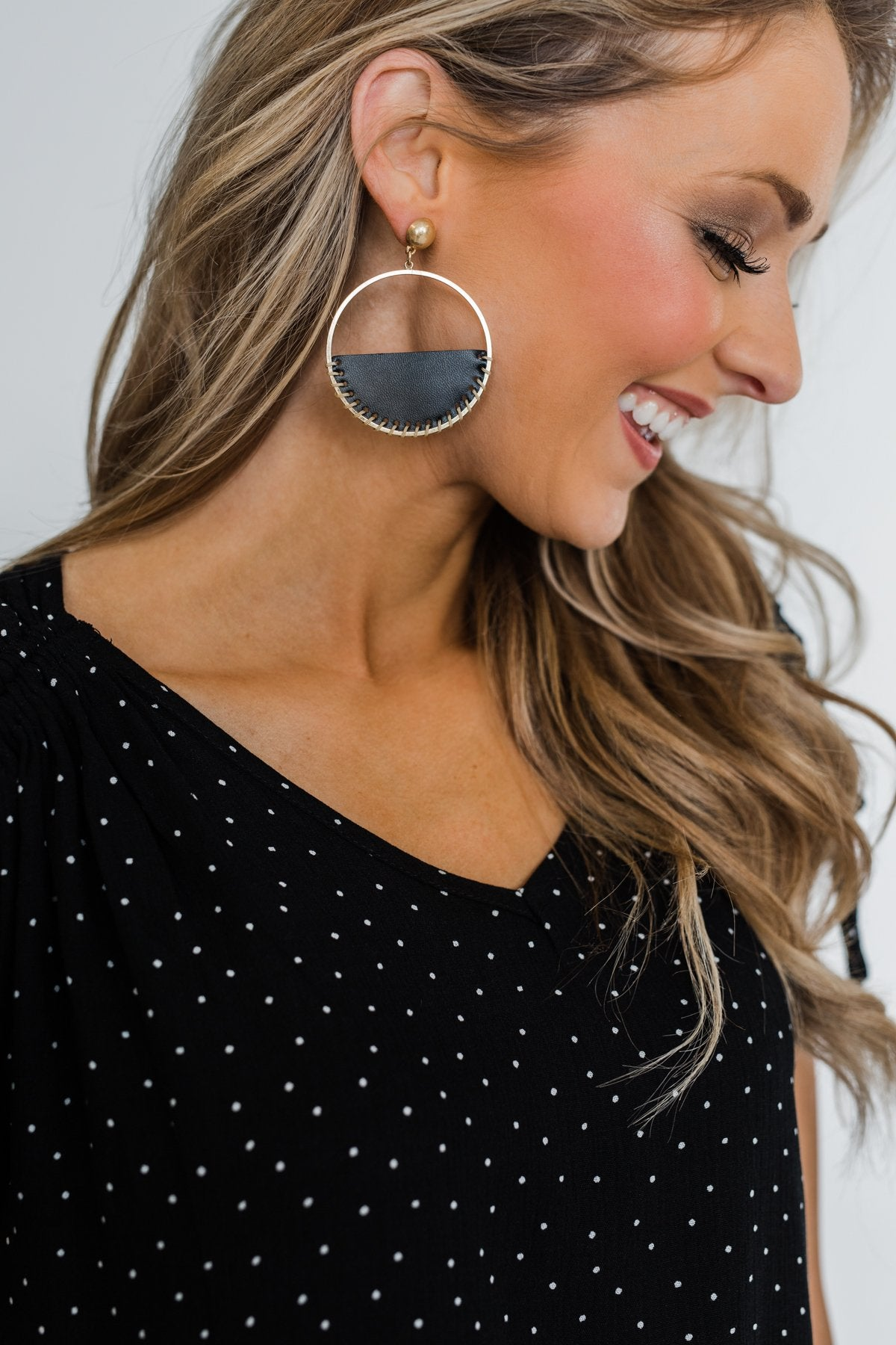 Half Circle Black Leather Hoop Earrings- Gold