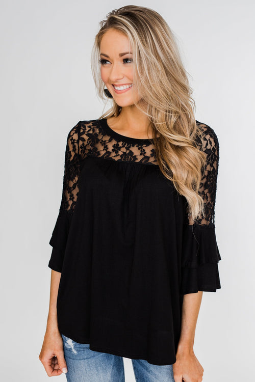 Right Beside Me Lace & Ruffles Top- Black