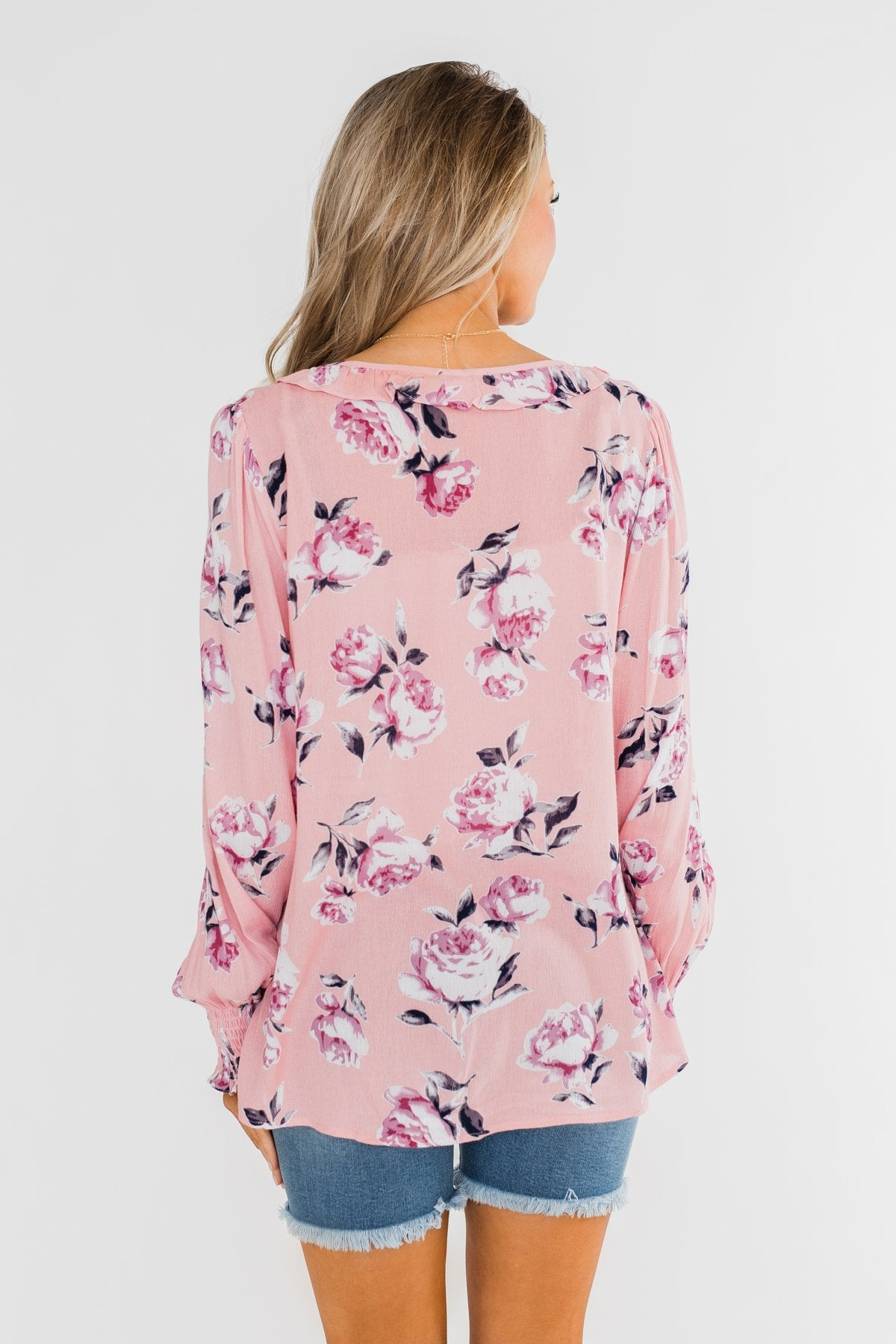 Count Your Blessings Floral Blouse- Blush