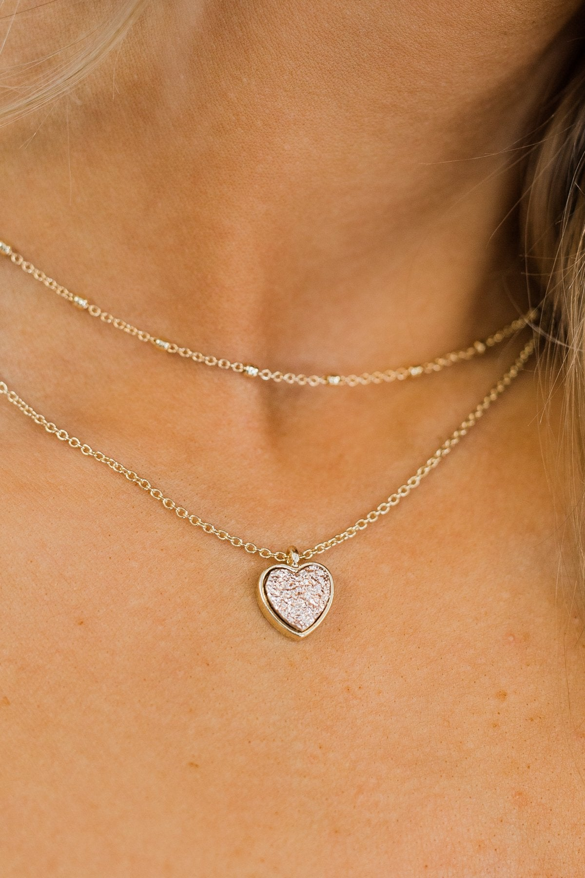 2 Tier Heart of Stone Necklace- Rose Gold