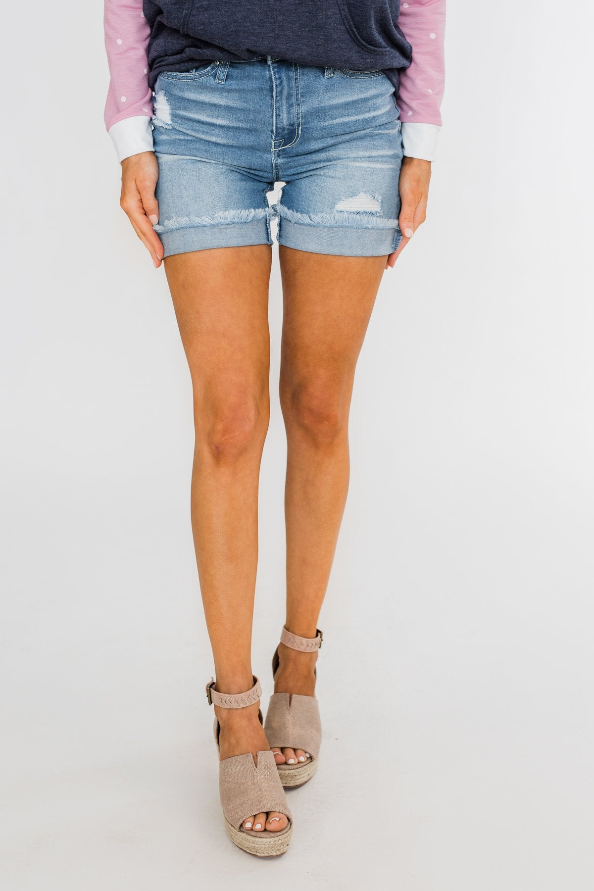 Celebrity Pink Frayed Hem Bermuda Shorts- Light Wash