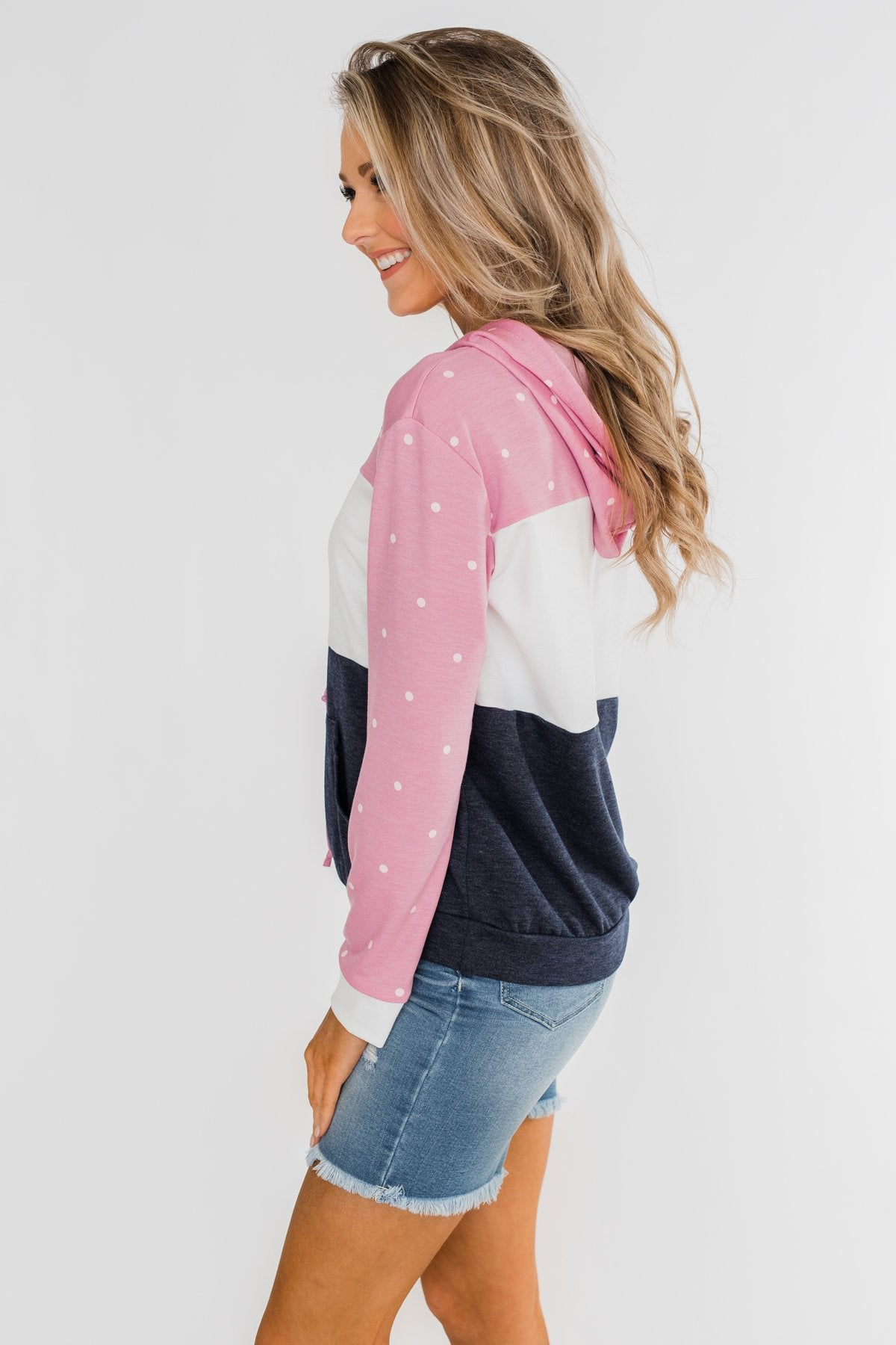 Come With Me Polka Dot Color Block Hoodie- Pink & Navy