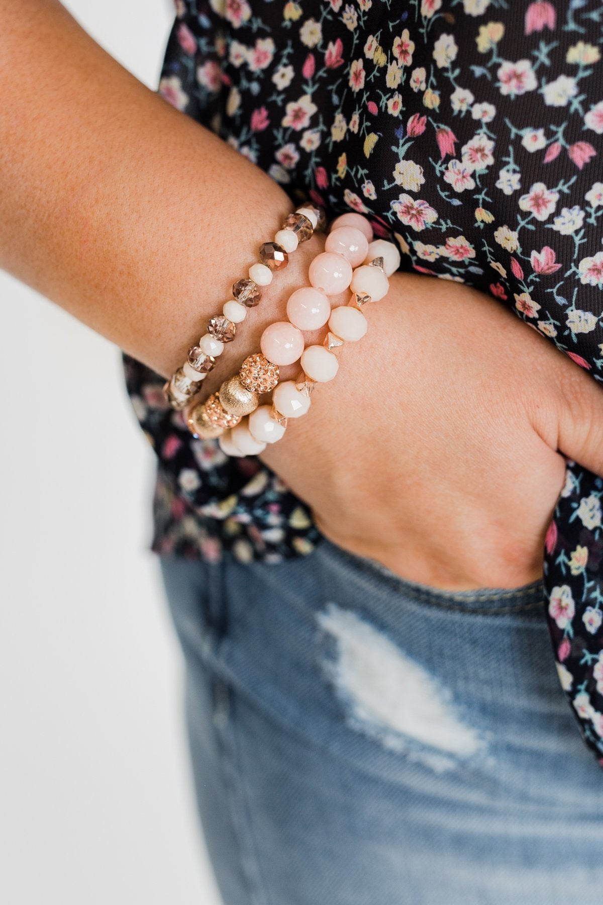 3 Layer Rose Gold Studded Bracelet Set- Blush