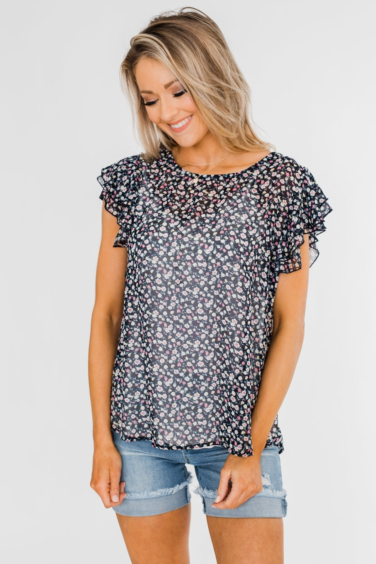 In Perfect Harmony Floral Ruffle Sleeve Top- Navy