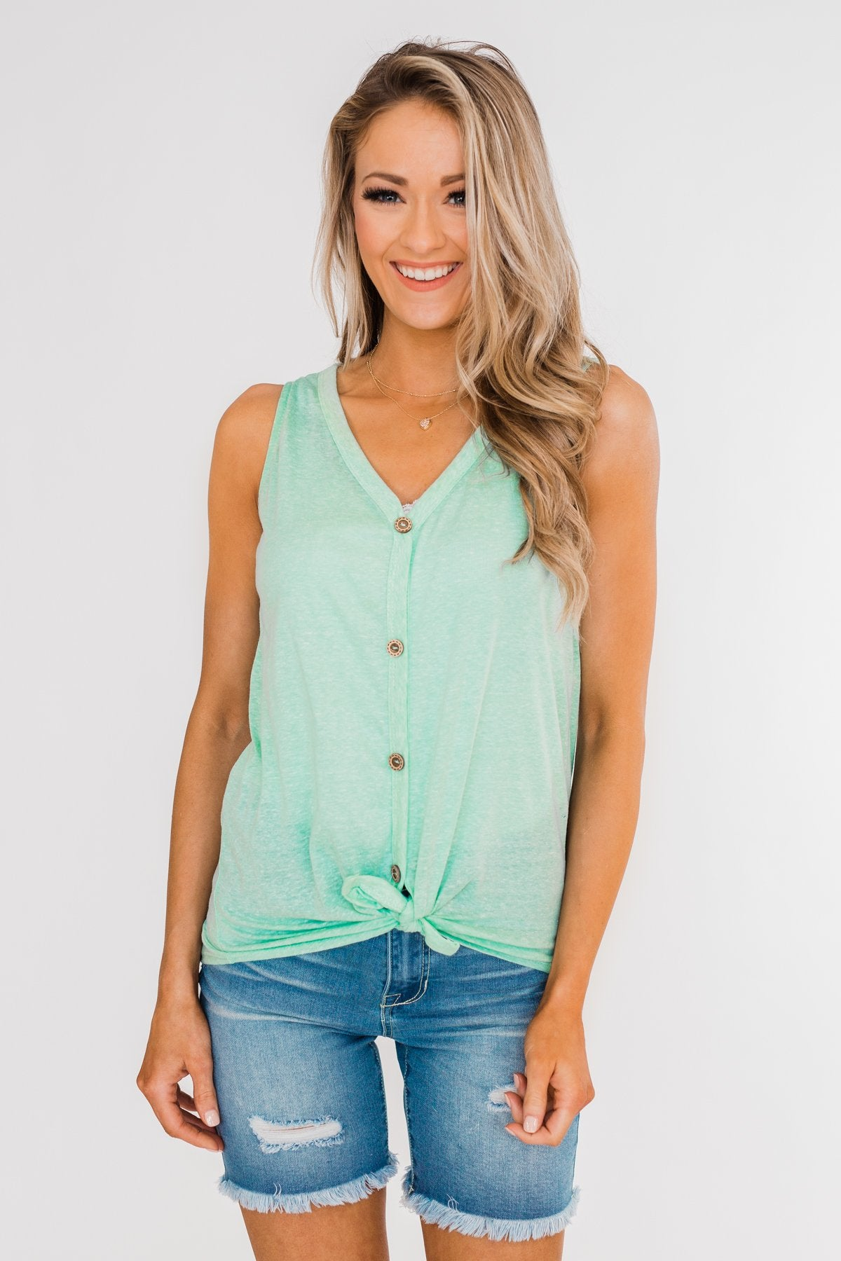 Everyday Button Tie Tank Top- Mint