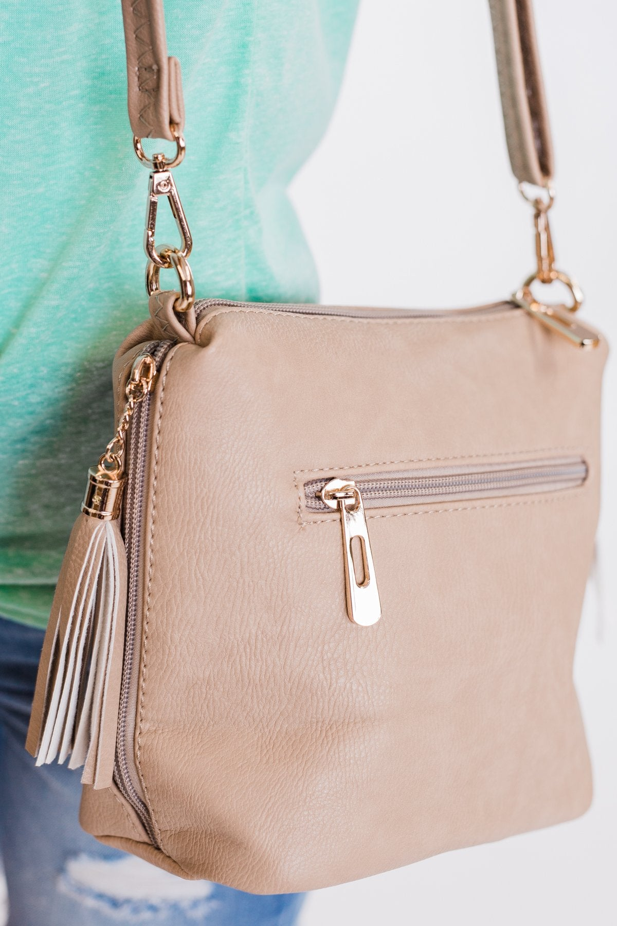 Side Zipper & Tassel Purse- Light Beige