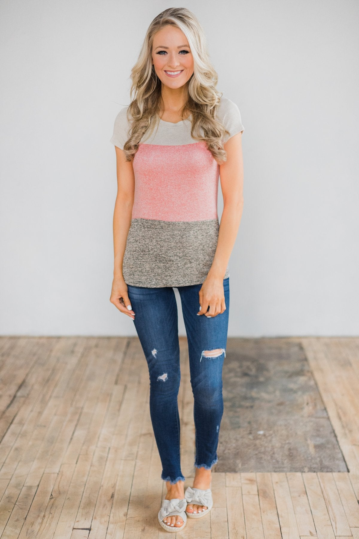 Summer Neon Lights Color Block Top - Speckled Mocha & Cream