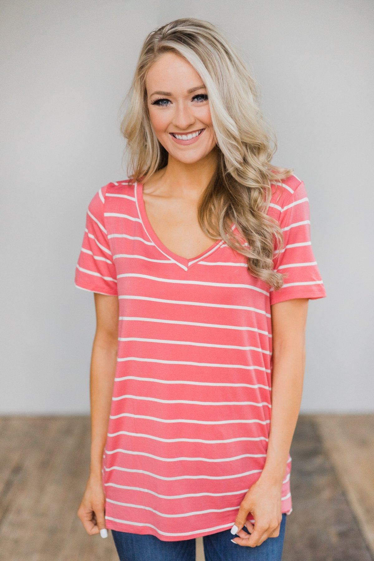 Beautiful and Basic Striped Top- Pink