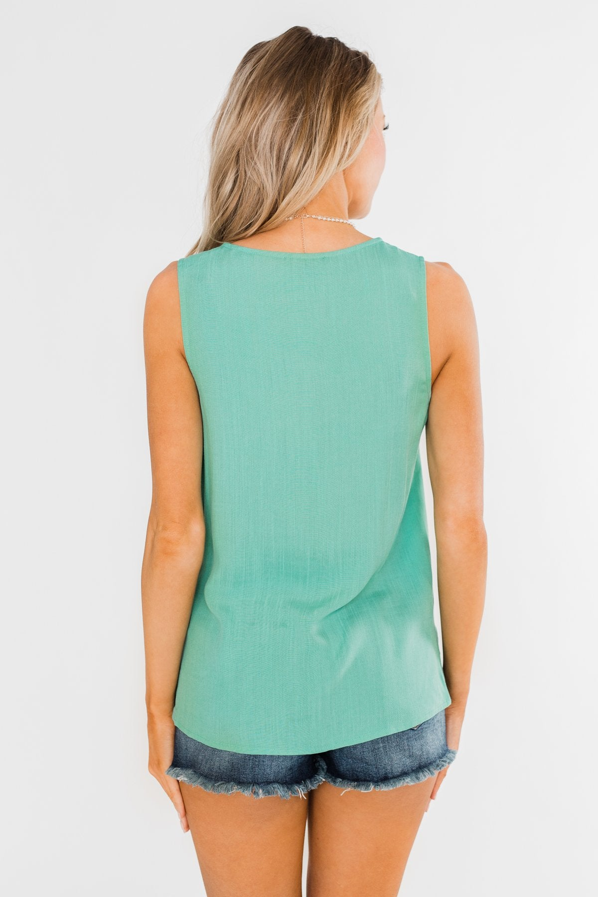 Meant To Be Mine Button Tank Top- Mint Blue