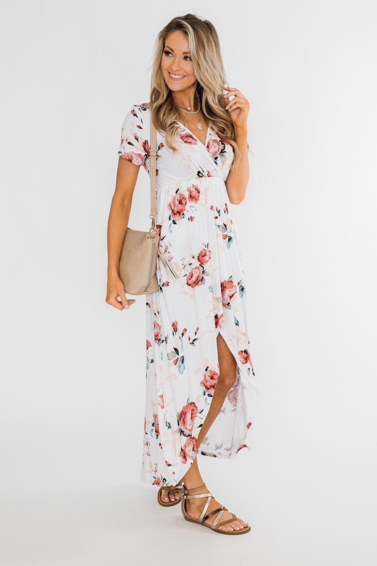 Promise To Keep Hi-Low Floral Maxi Dress- Ivory