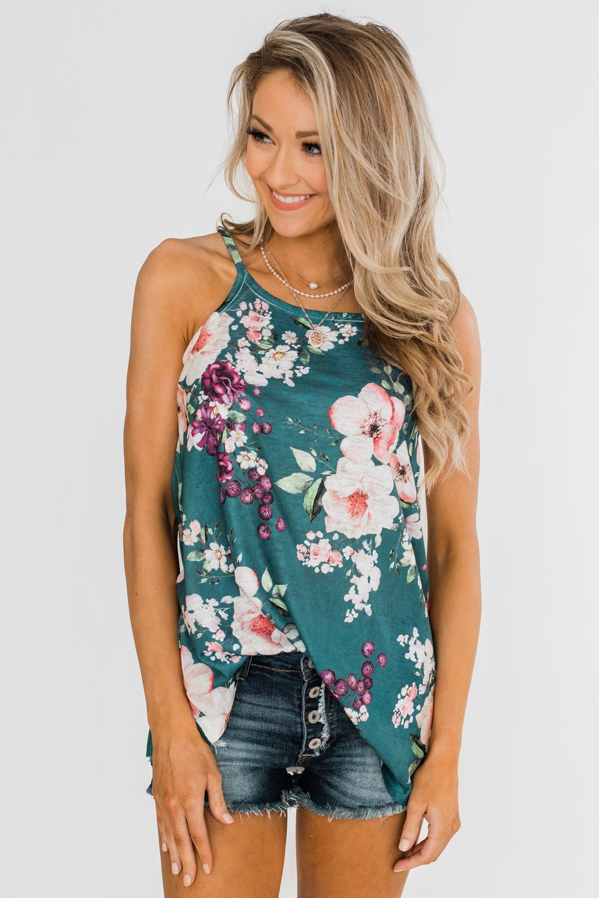 True Bliss Floral Tank Top- Dark Teal