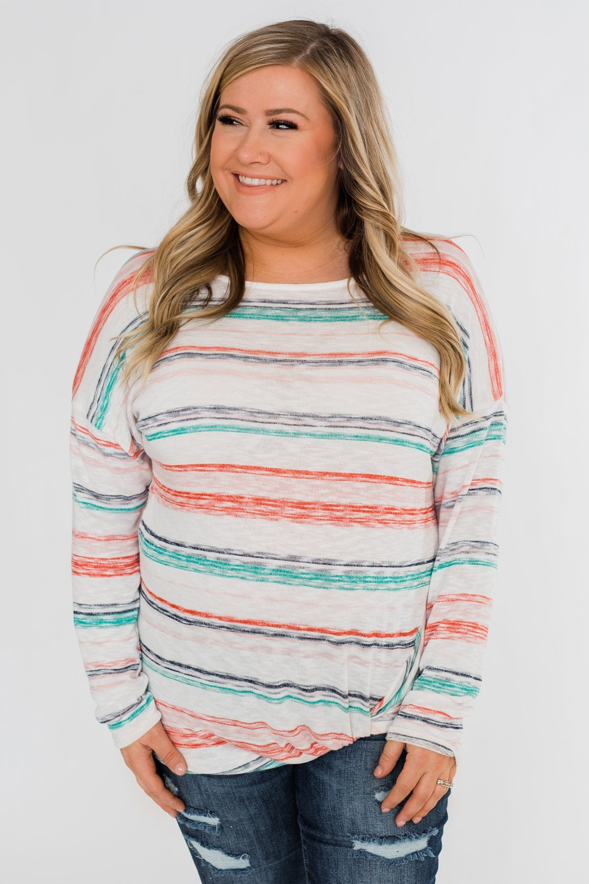 Horizon Views Striped Dolman Sleeve Top- Multi-Colored