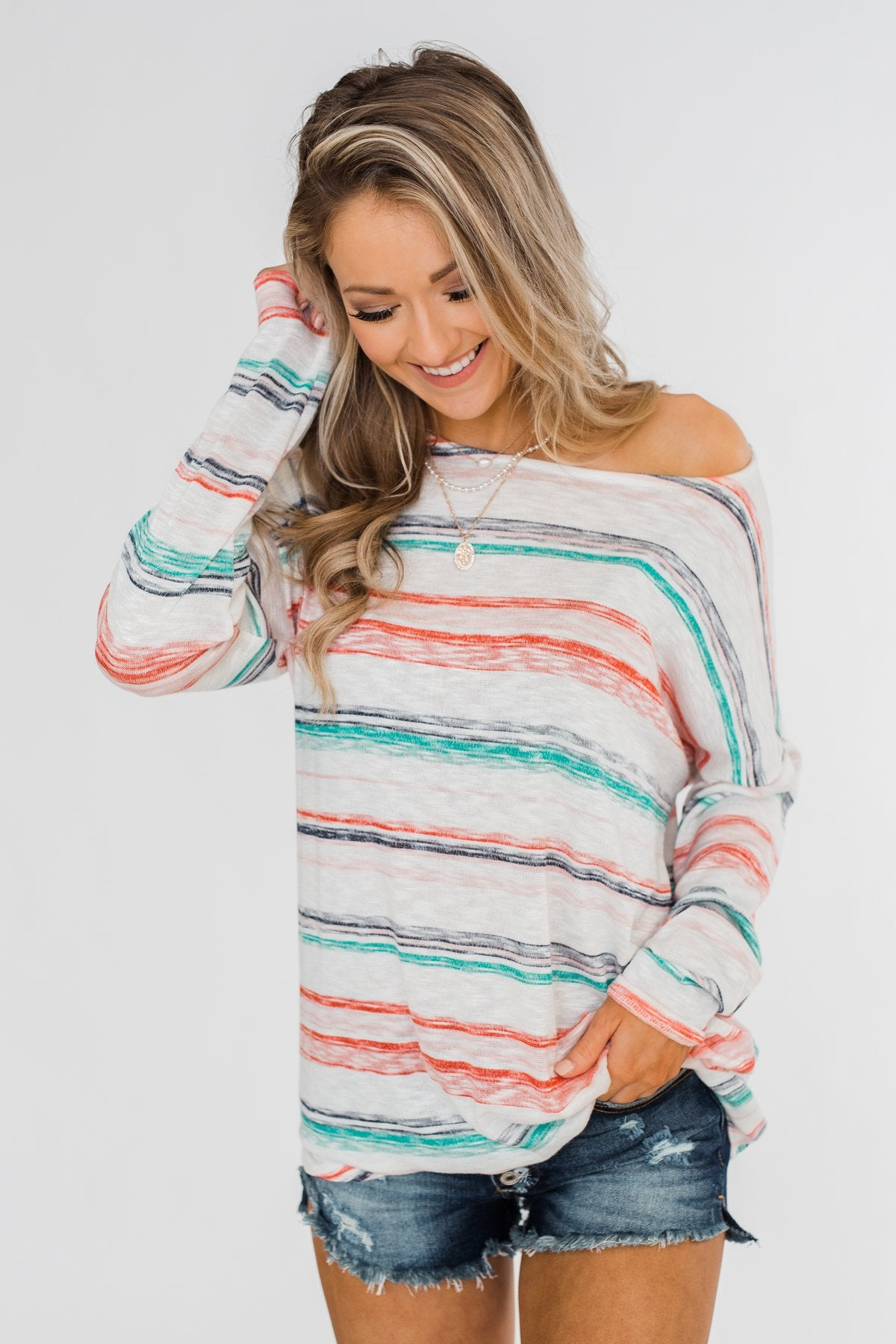 28b8f09ae4893b Horizon Views Striped Dolman Sleeve Top- Multi-Colored – The Pulse ...