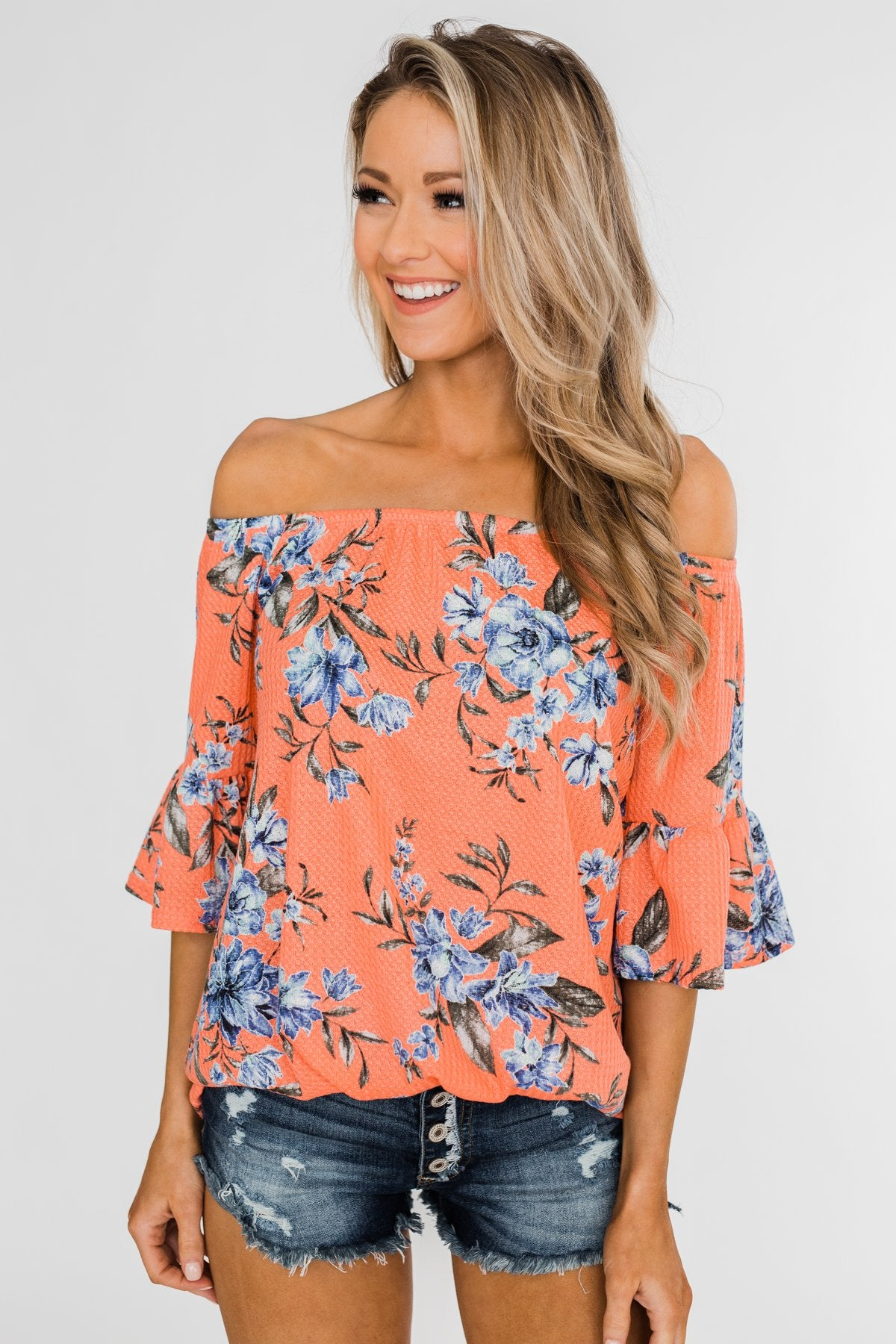 Let's Get Away Off The Shoulder Floral Top- Peachy Orange