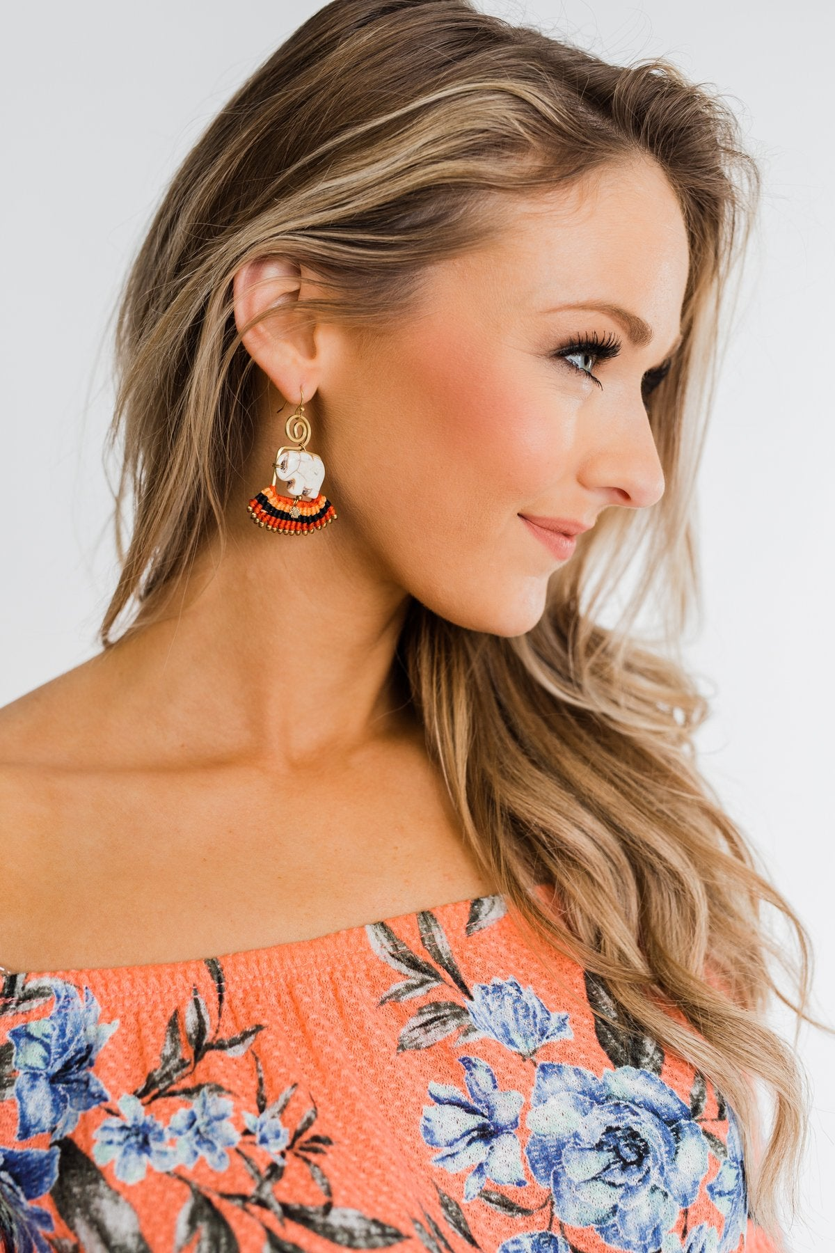Bohemian Elephant & Tassel Earrings- Orange & Red
