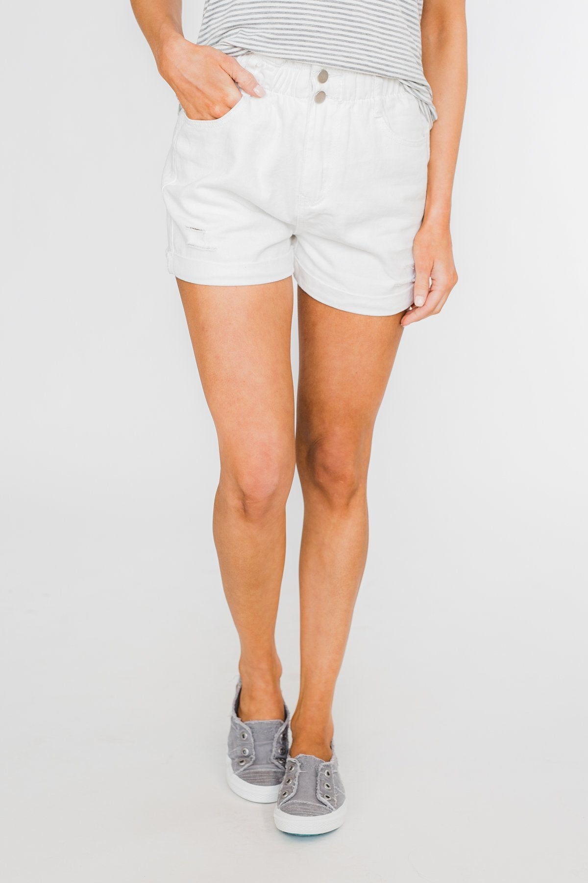 Cinched Waist Shorts- White