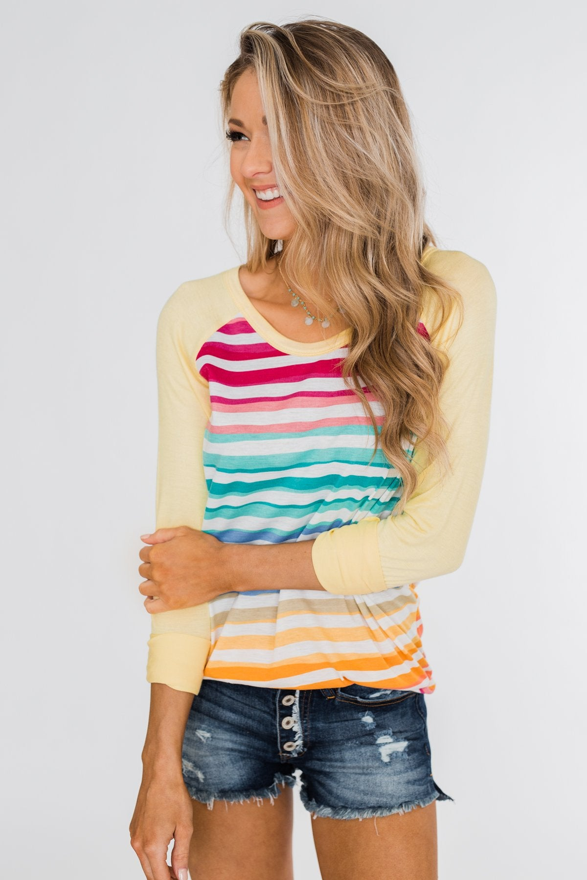 Waves of Color Striped Color Block Top- Yellow