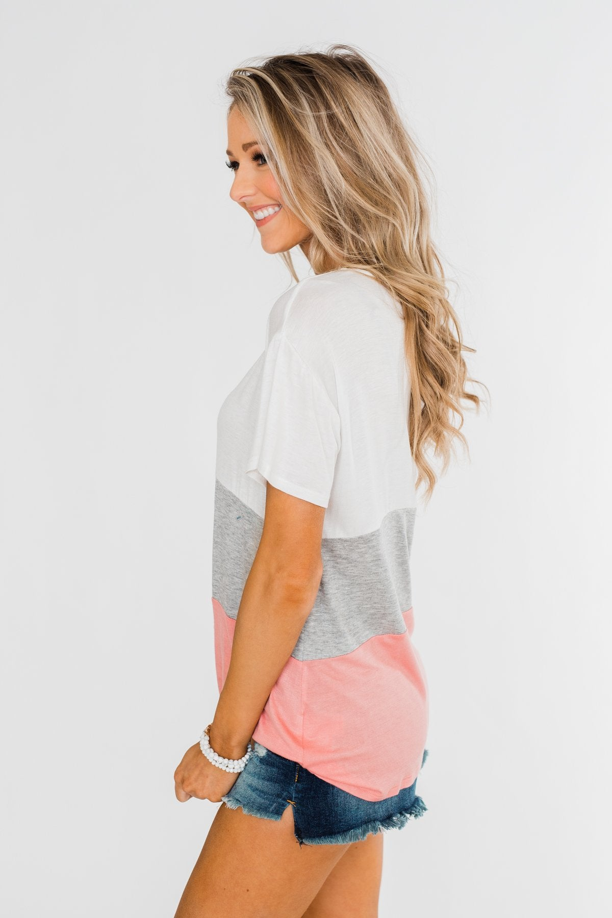 By My Side Criss Cross Color Block Top- Ivory, Grey, Pink