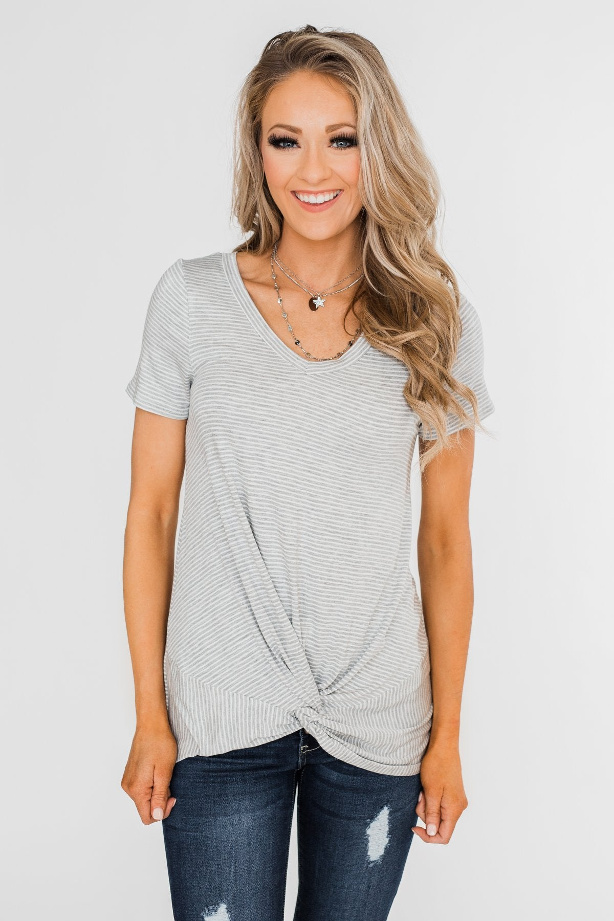 Knot This Time Striped Top- Heather Grey