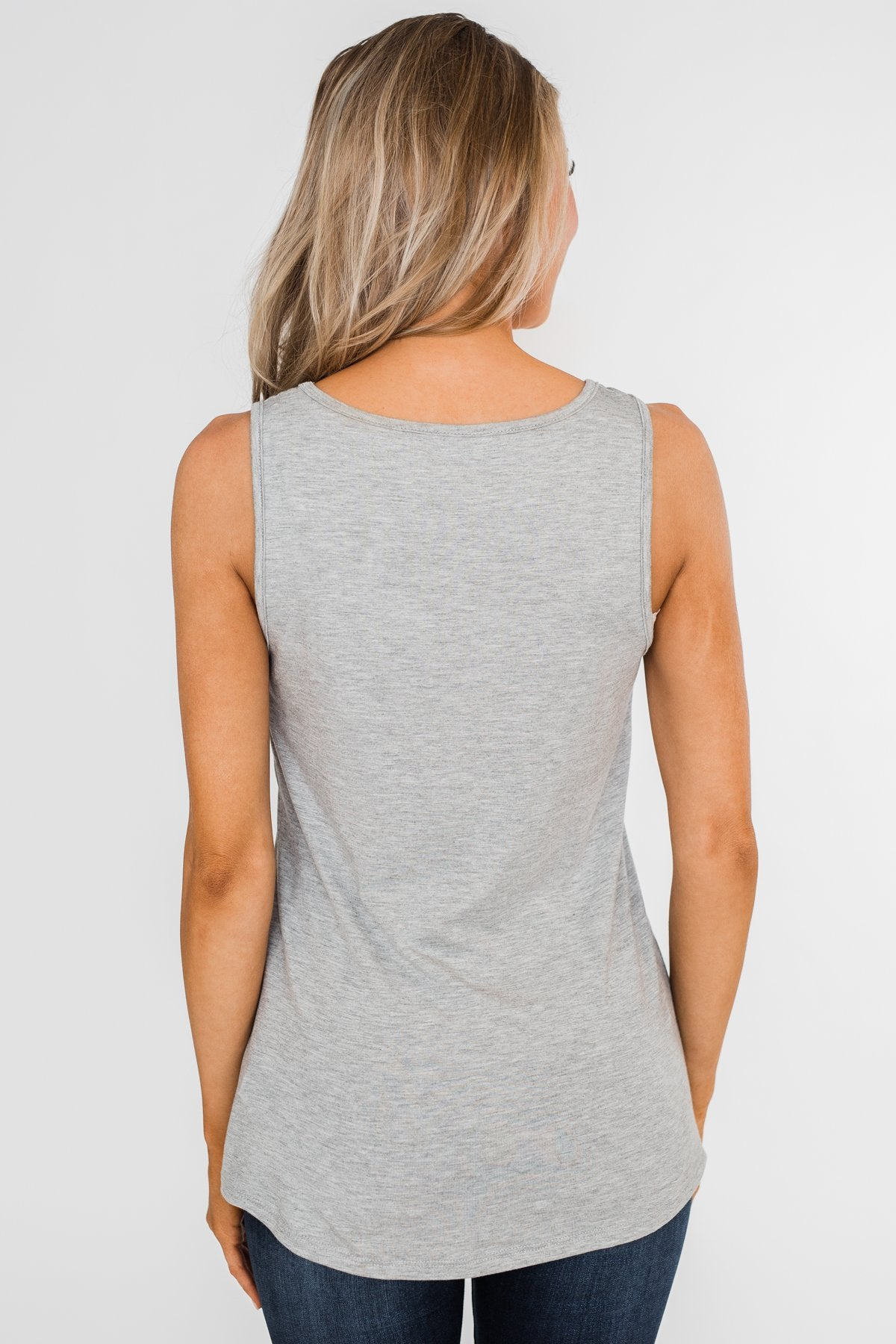 Give it More Glam Pocket Tank- Heather Grey