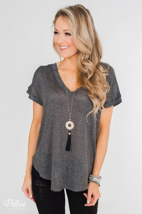 Crossing Into Casual Lace Back Top- Charcoal