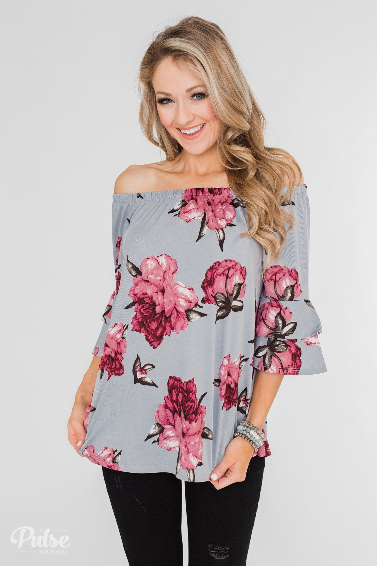 Bring on the Floral Off the Shoulder Top- Powder Blue
