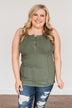 Dream Life Ribbed Button Tank Top- Olive