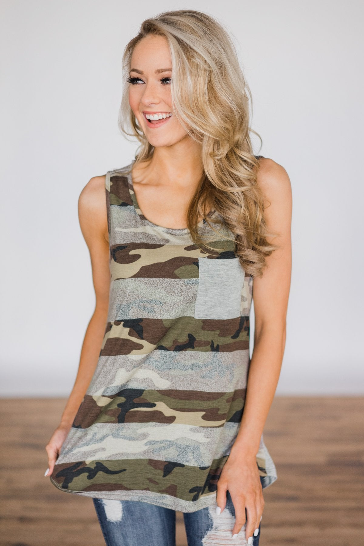 Double Take Camo Pocket Tank