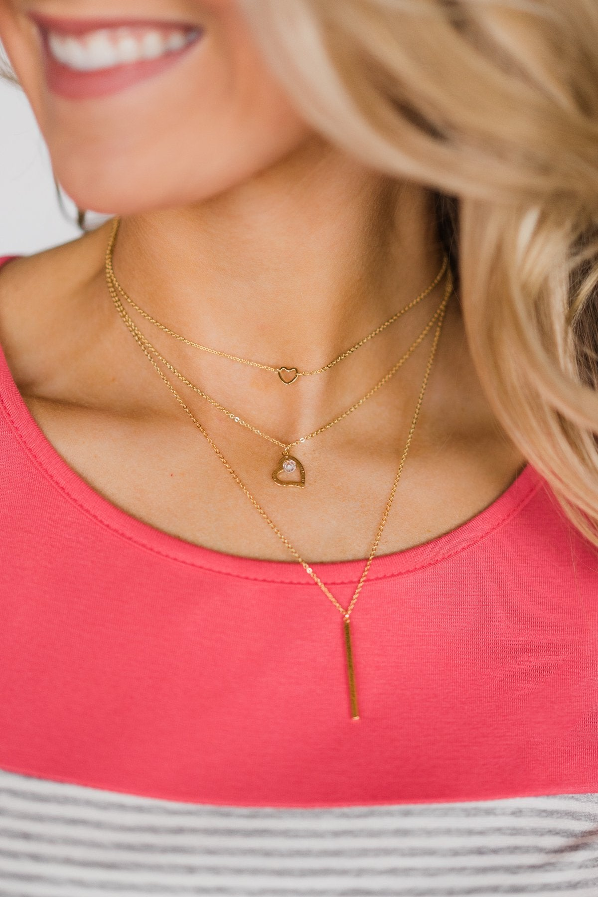 3 Tier Heart Necklace - Gold