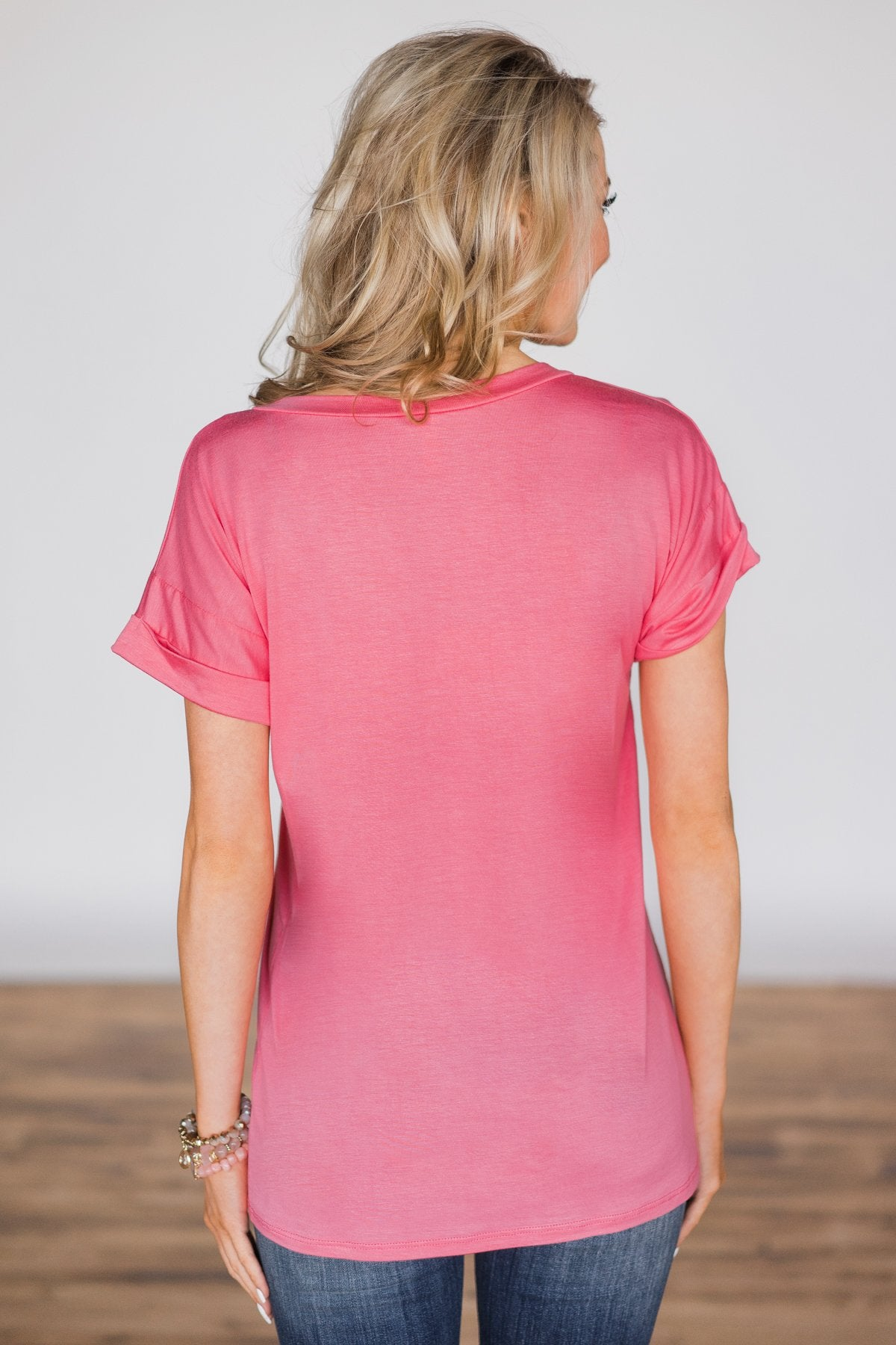 The Perfect Pocket Tee - Punch Pink