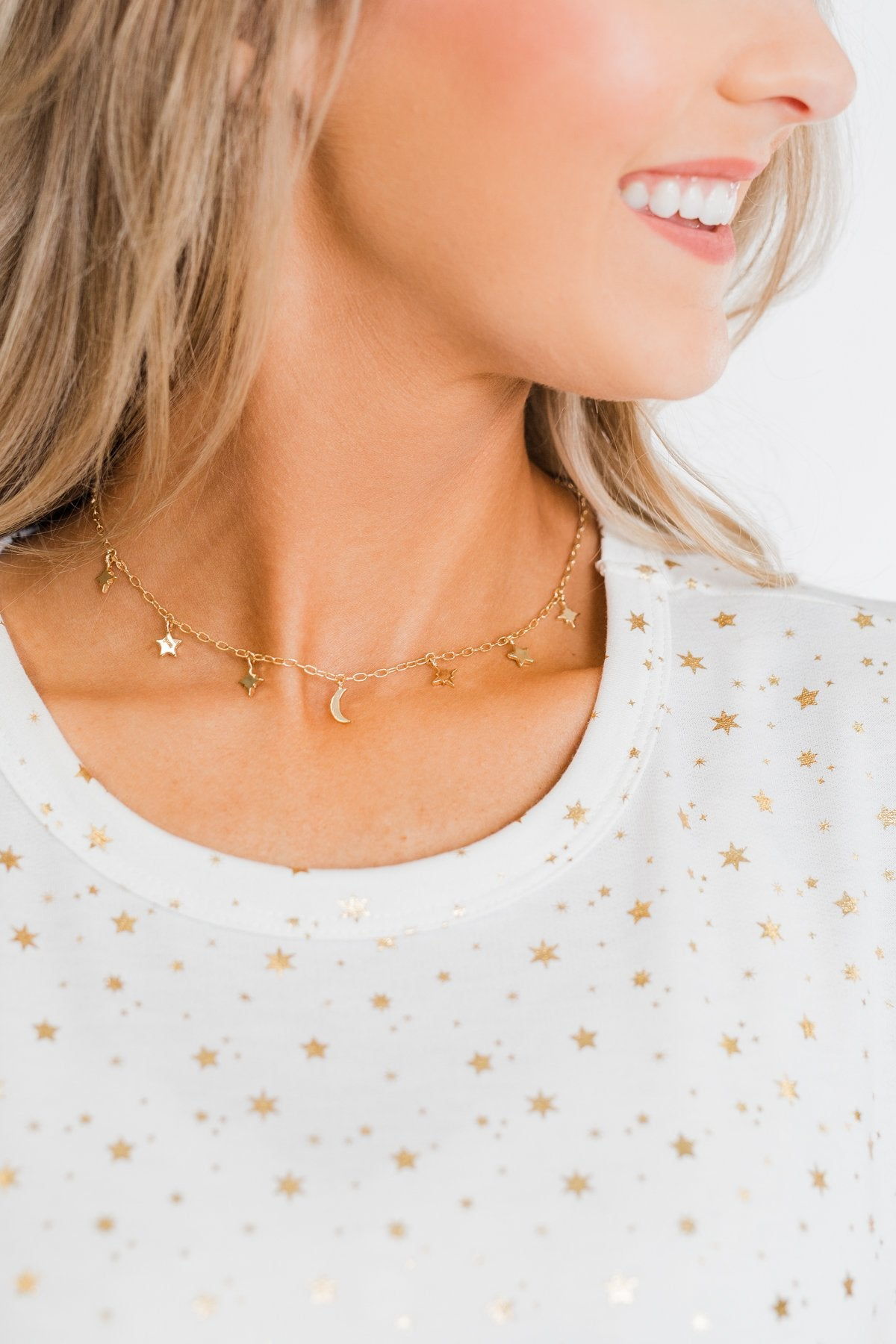 Star & Moon Necklace- Gold