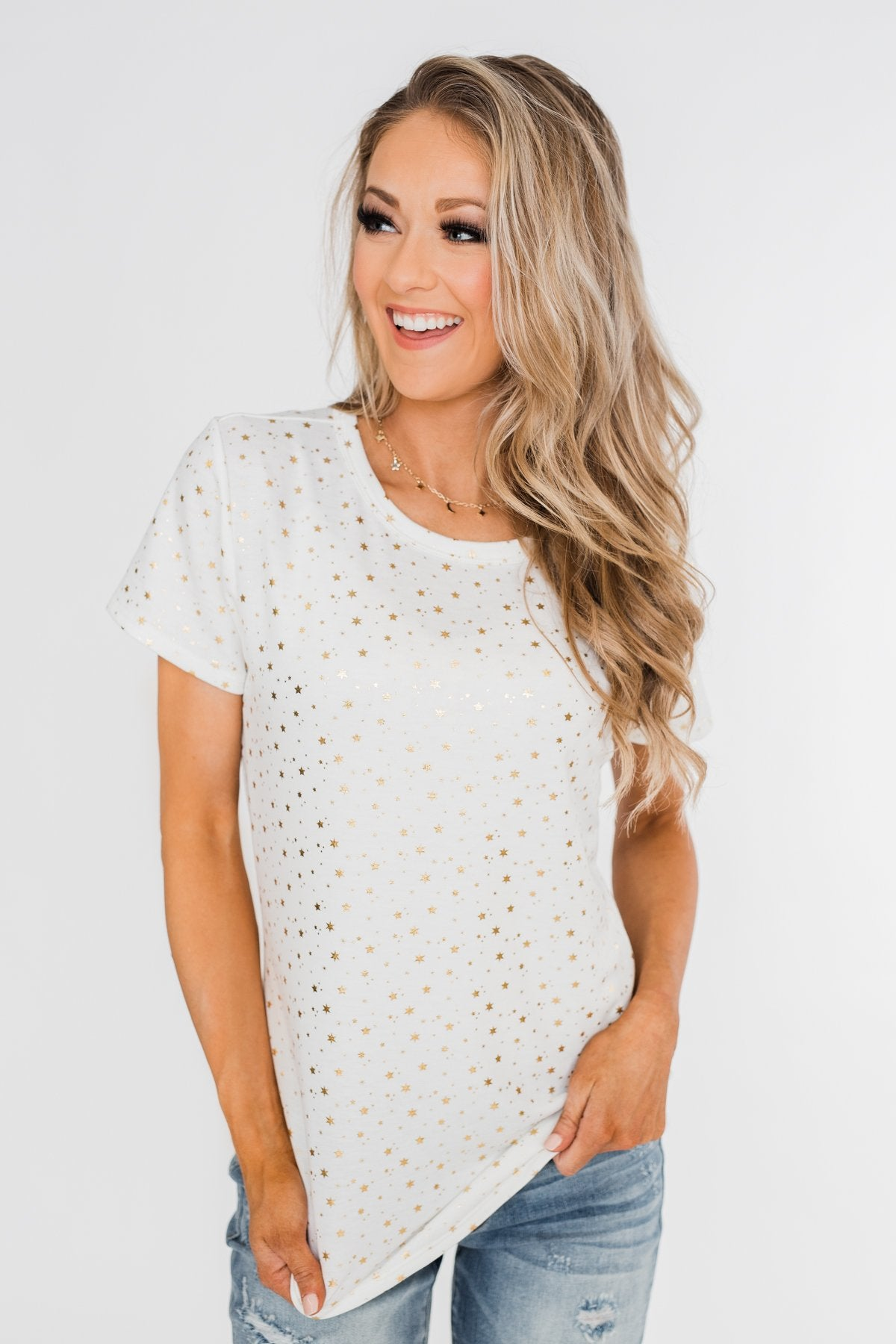 Made To Shine Short Sleeve Star Top- Ivory & Gold