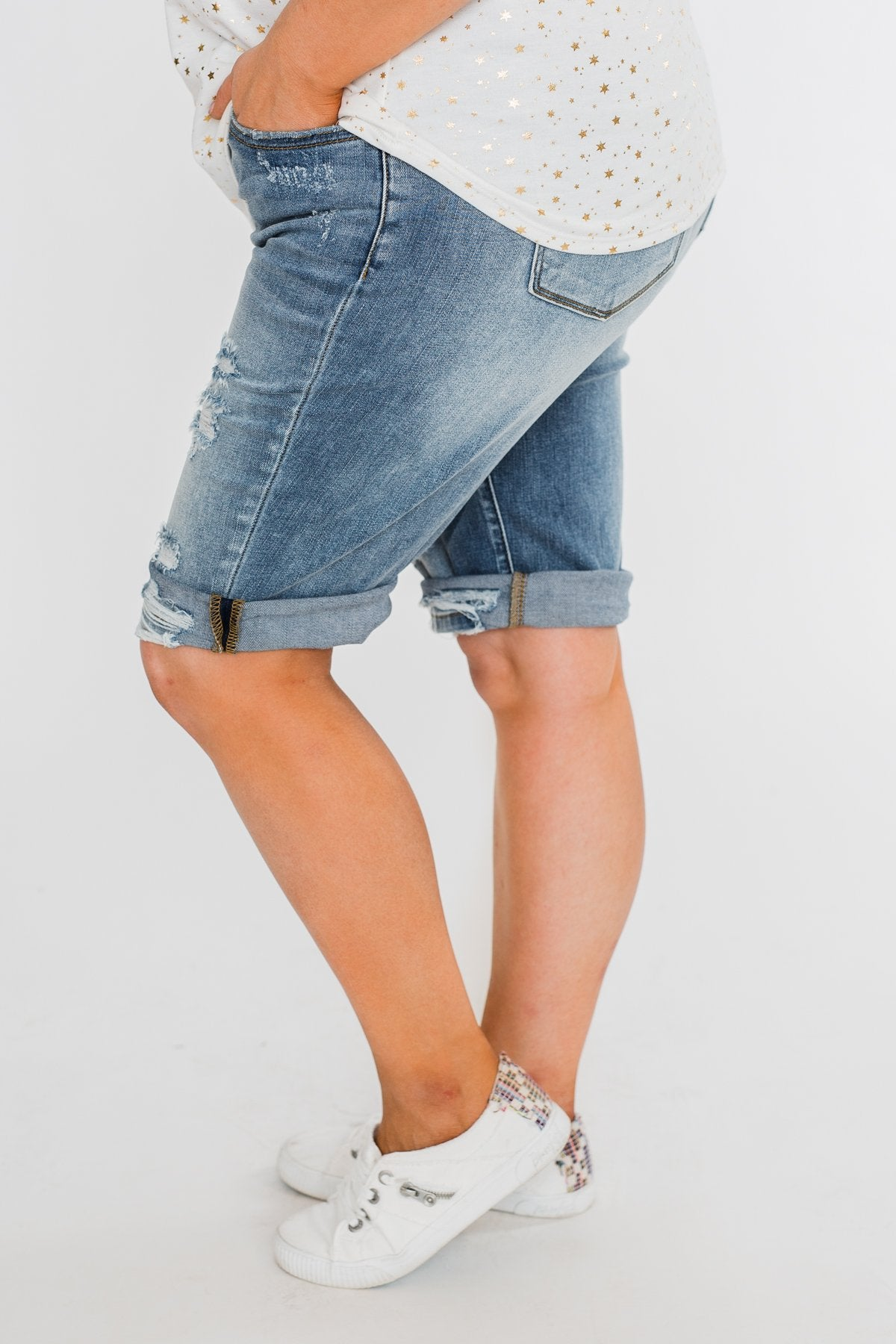 KanCan Distressed Bermuda Shorts- Ciara Wash