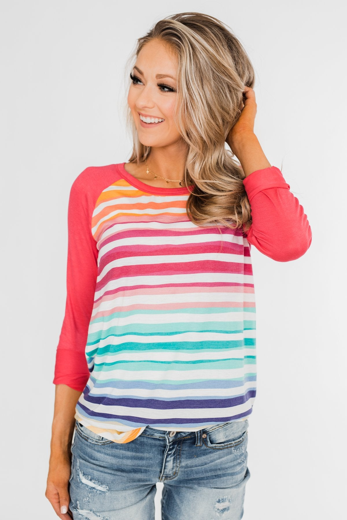 Waves of Color Striped Color Block Top- Fruit Punch
