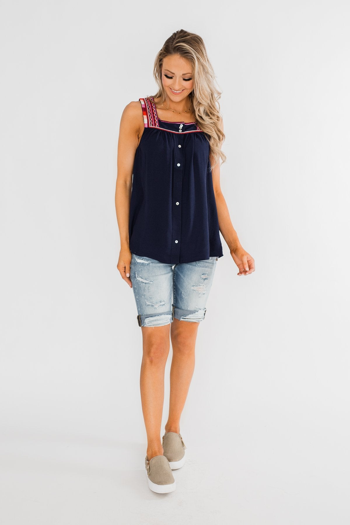 Familiar To You Wide Strap Tank Top- Navy