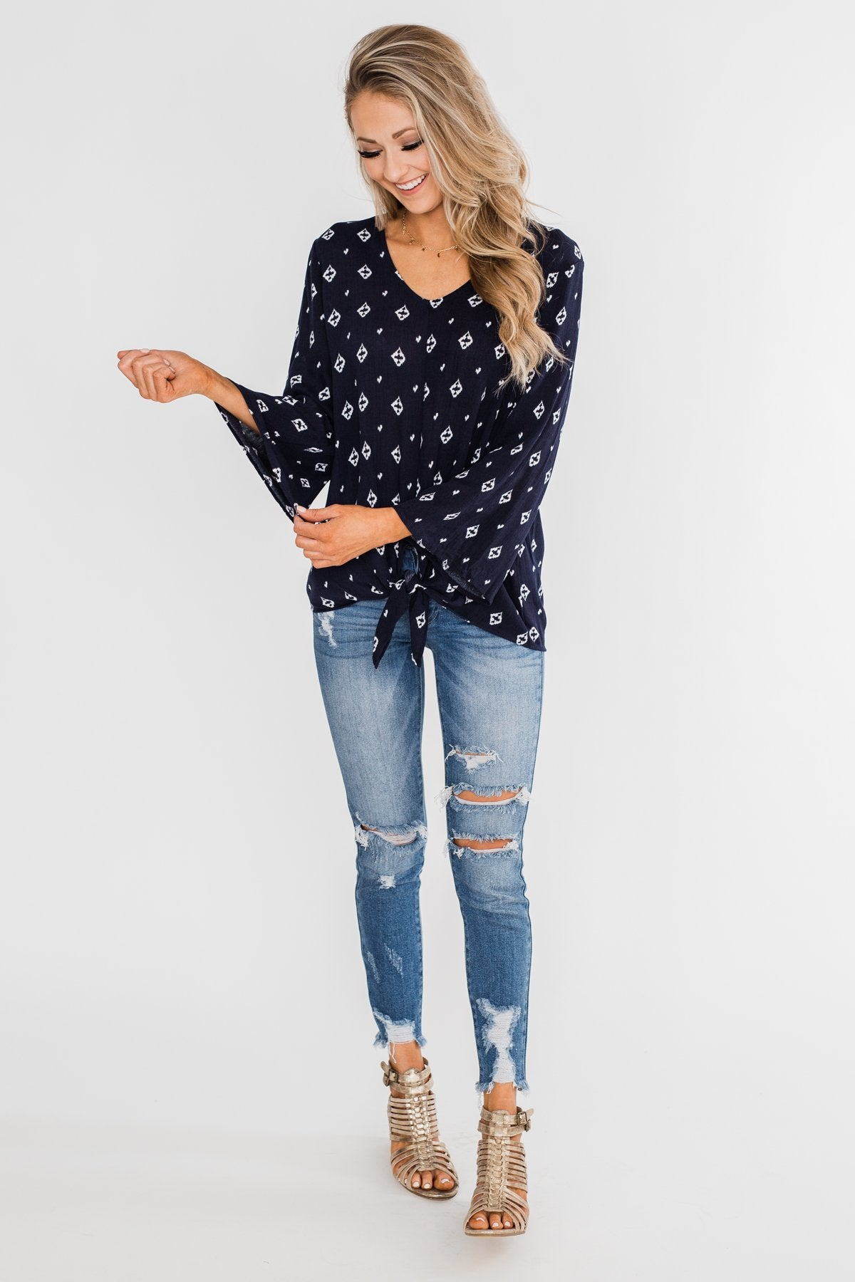 Something About You Printed Tie Blouse- Navy