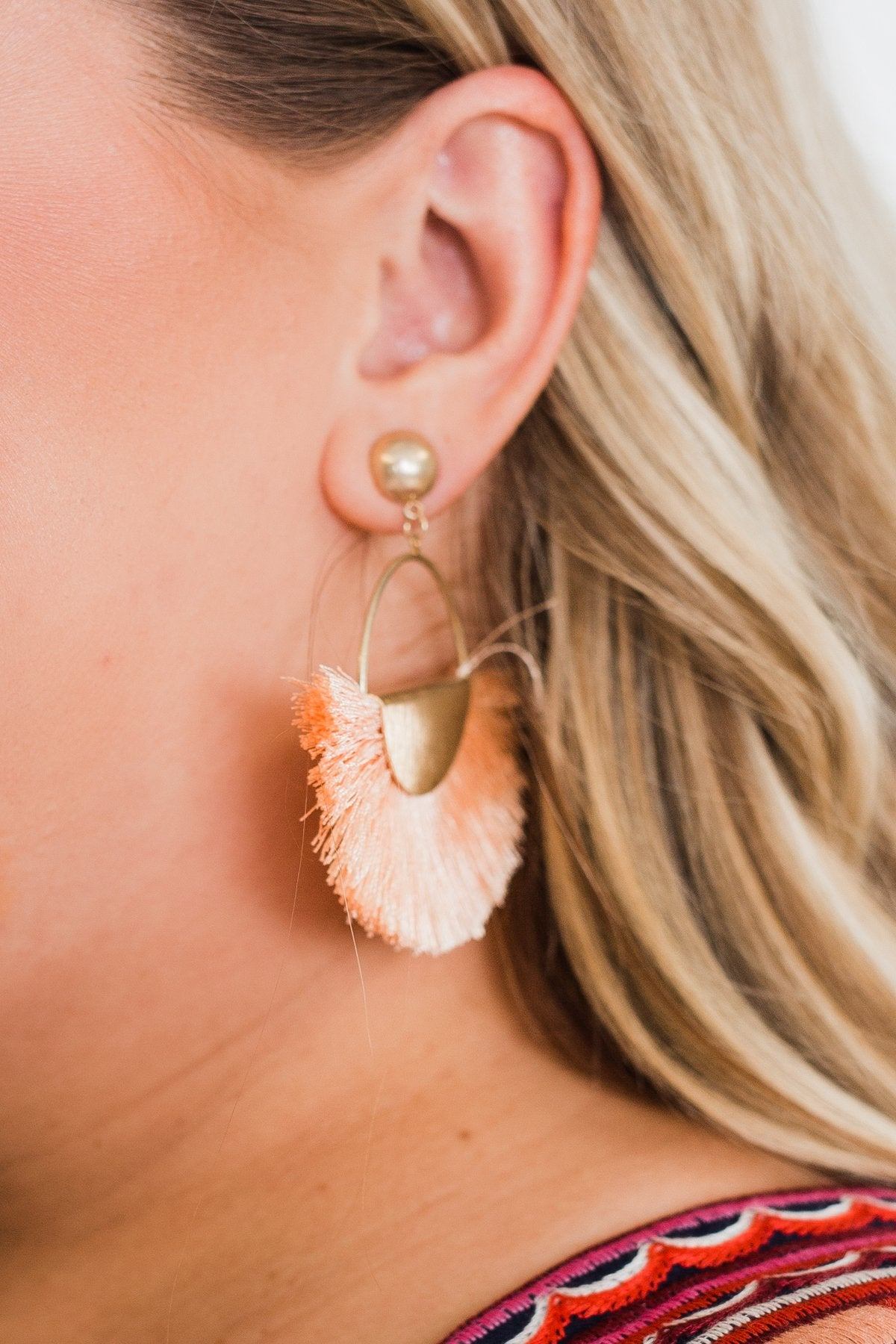 Flare Gold Hoop Earrings- Light Peach Orange