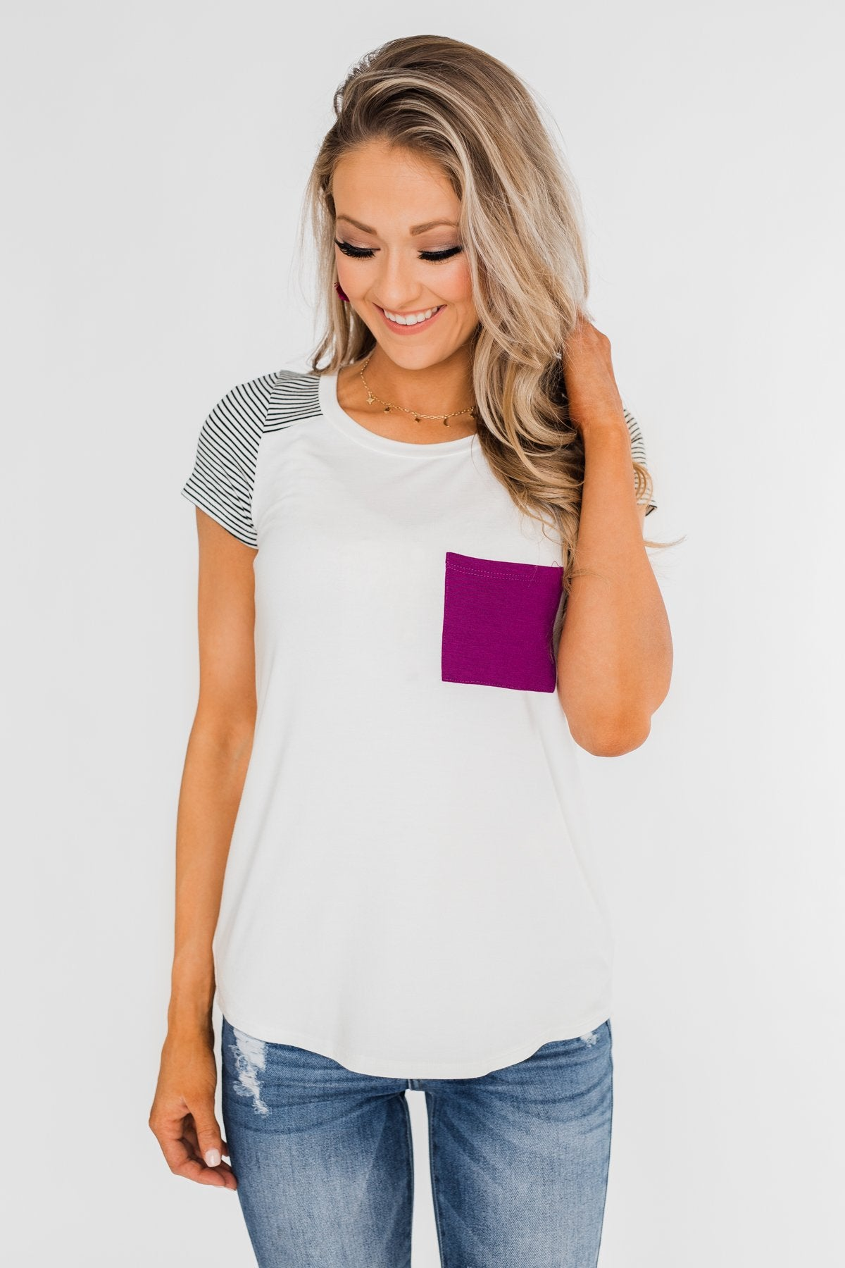 Take Me There Striped Sleeve Pocket Top- Magenta