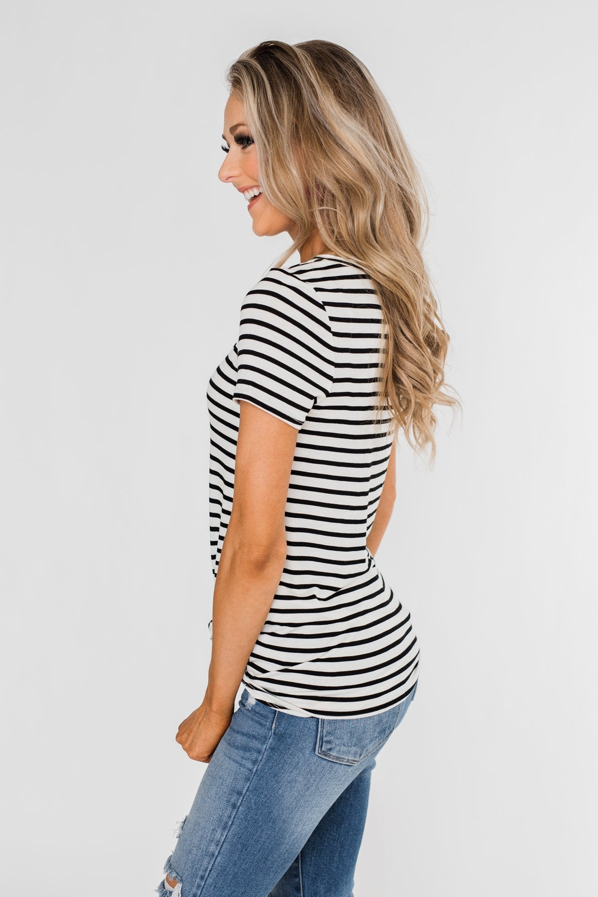 Black & White Striped V-Neck Top