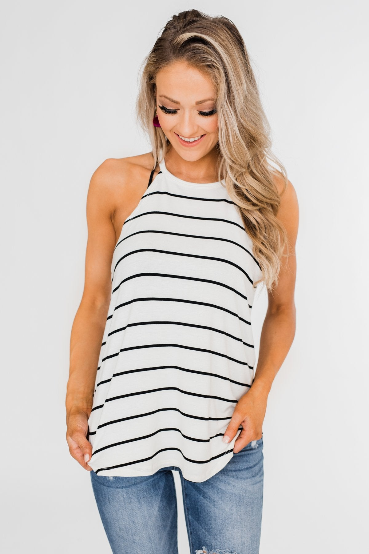 Striped Halter Tank Top- Ivory