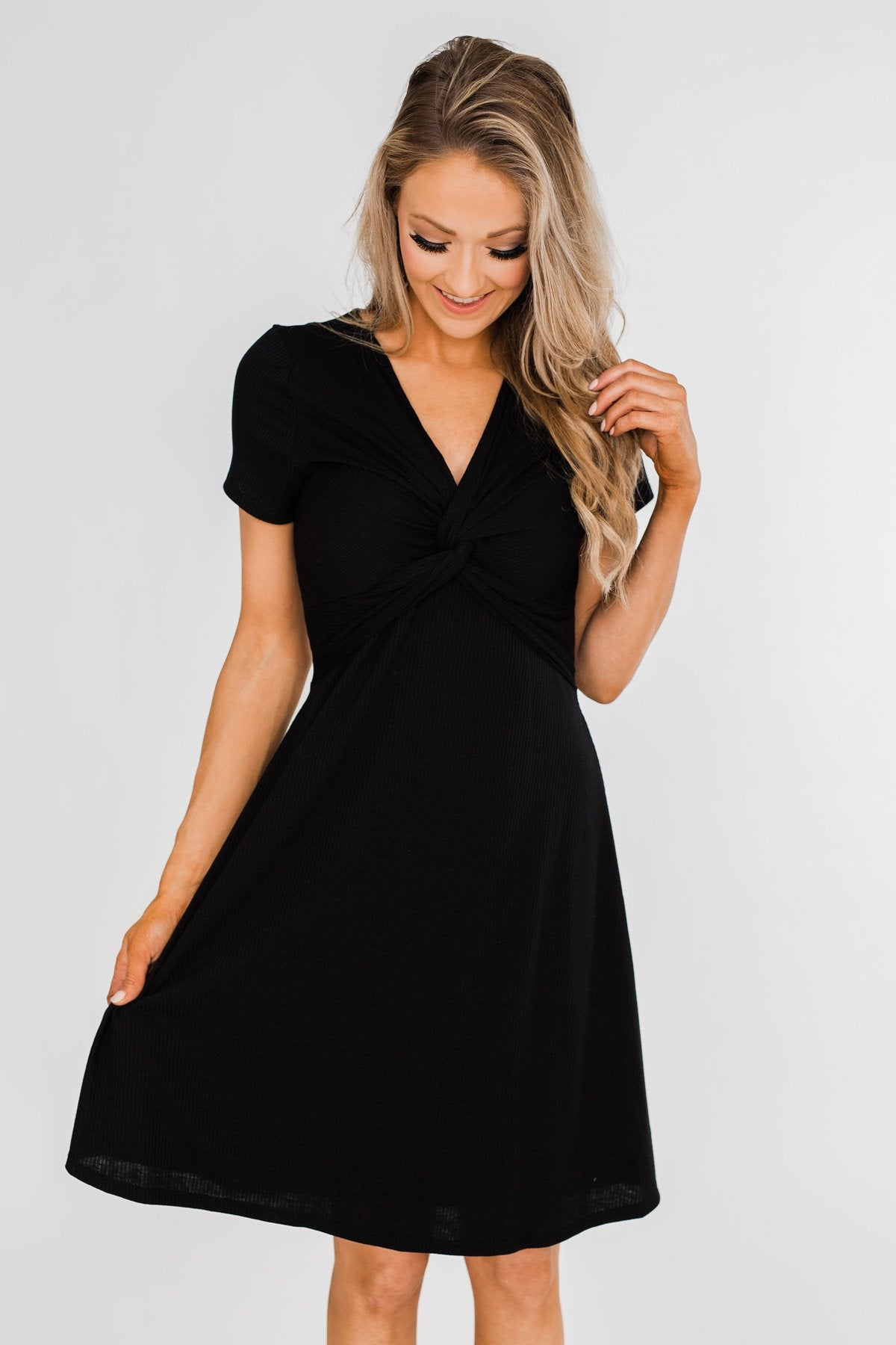 Tell Me More Front Knot Dress- Black