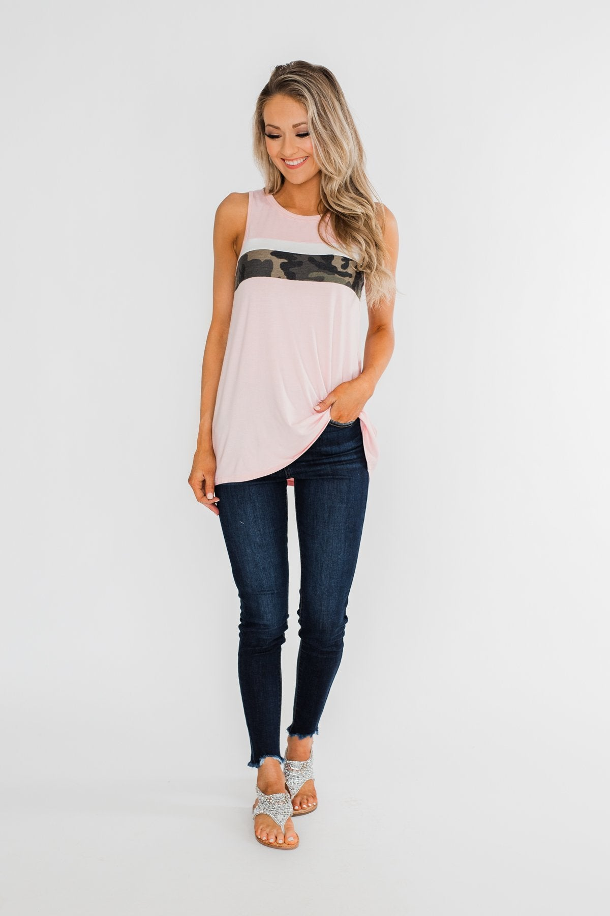 Just A Hint Of Camo Tank Top- Blush