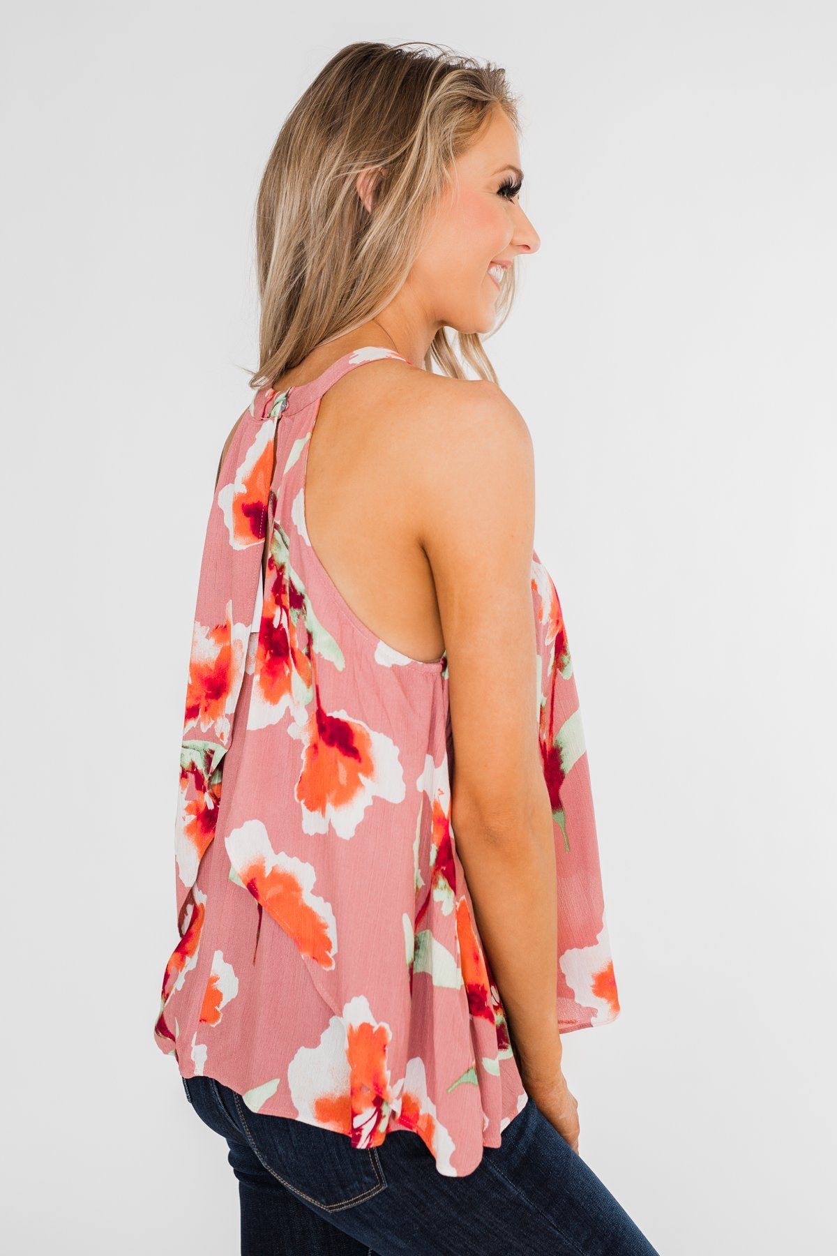 Love At Last Floral Halter Tank Top- Mauve
