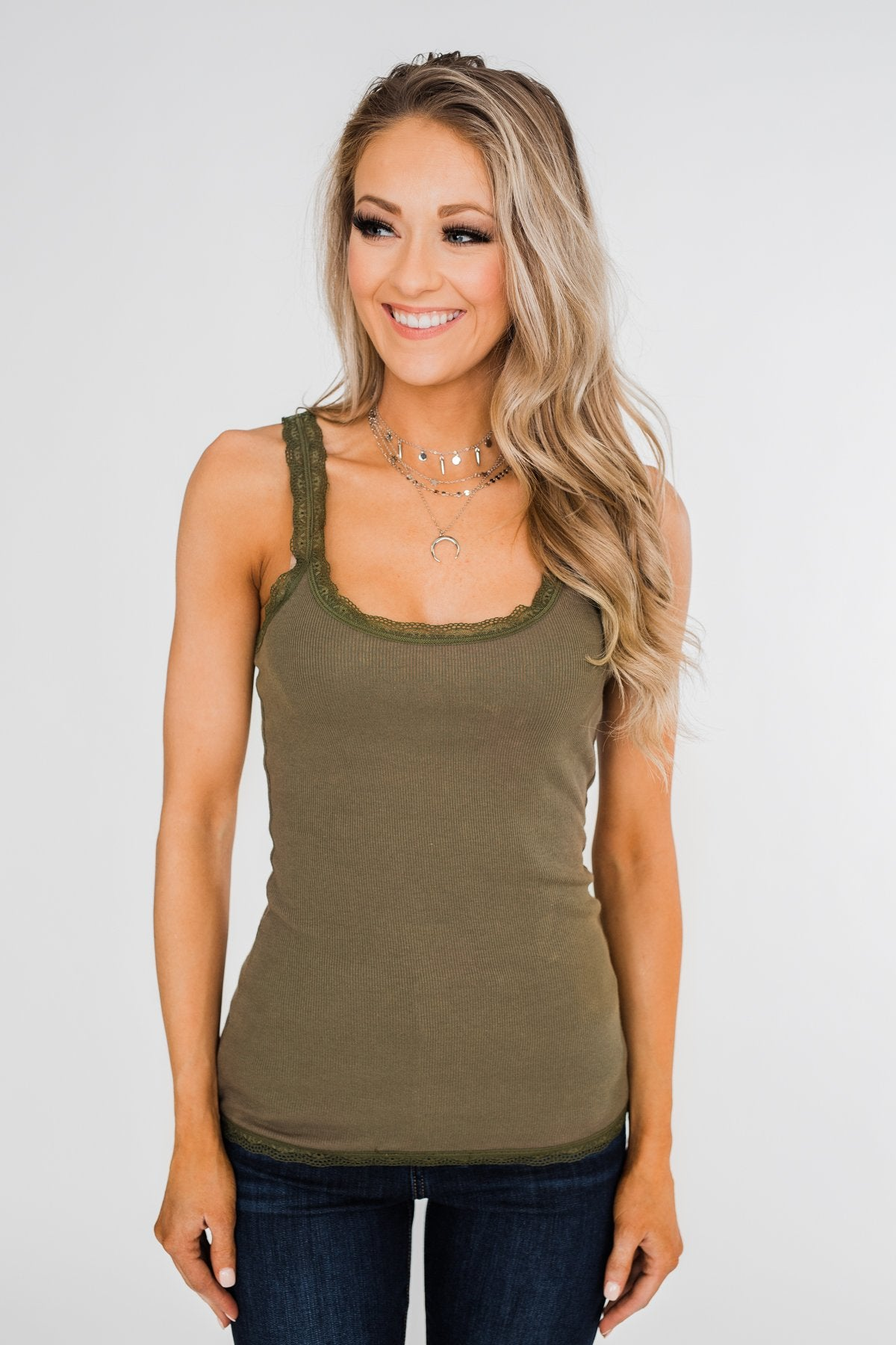 Faded Lace Trimmed Layering Tank- Olive