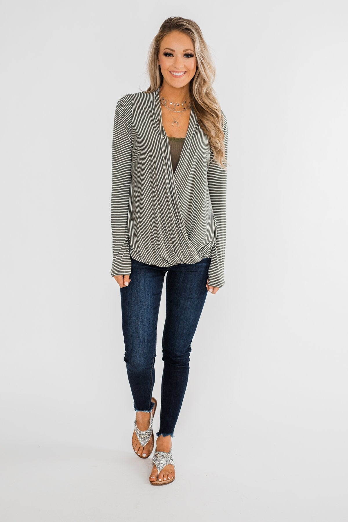 Keep It Going Long Sleeve Striped Wrap Top- Olive