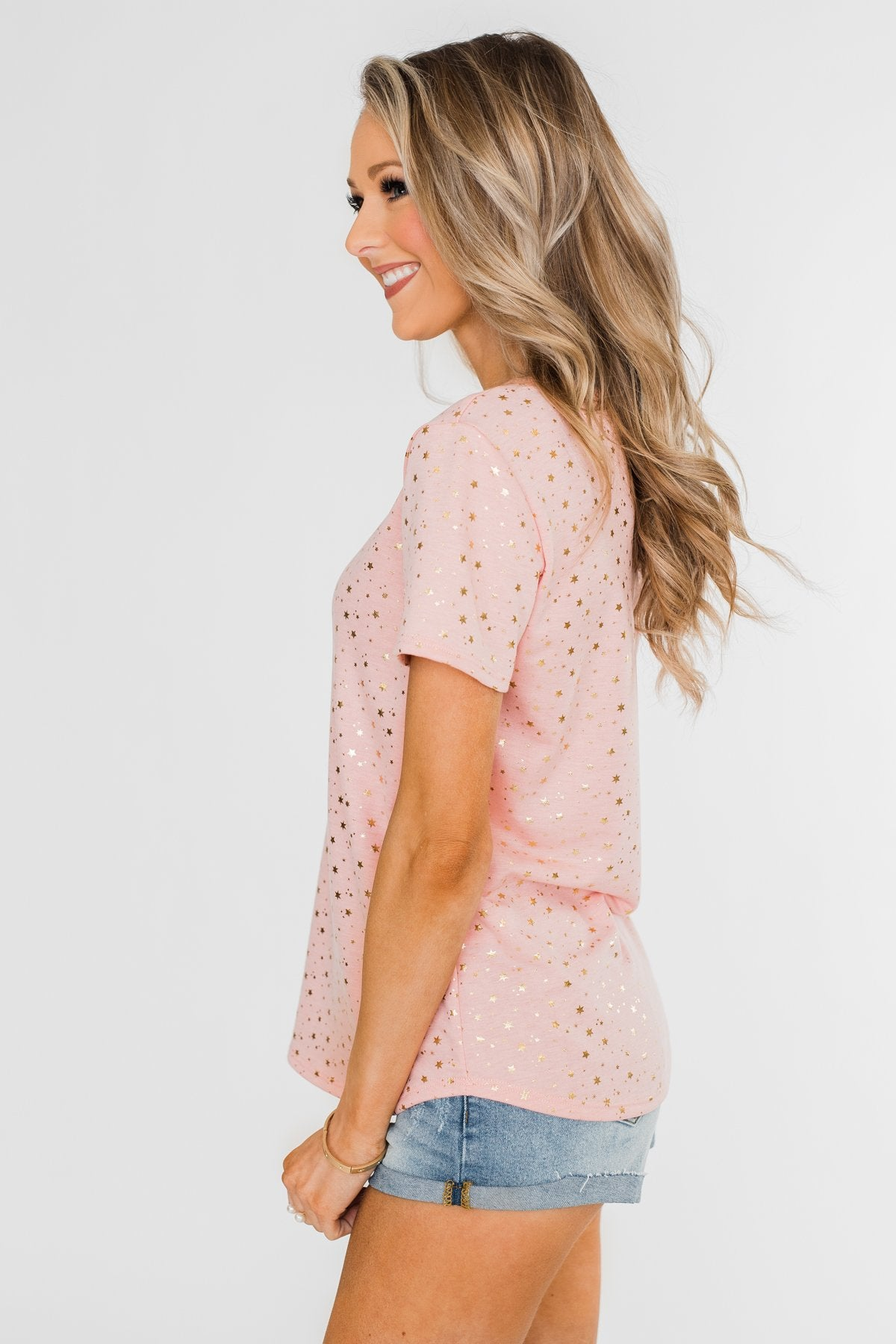 Made To Shine Short Sleeve Star Top- Pink & Gold
